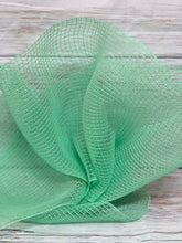 Load image into Gallery viewer, 10 inch mint Fabric Mesh. Pastel mesh. Sea foam green mesh. Designer DIY offers metallic mesh, jute mesh, burlap mesh, fabric mesh, poly mesh. Perfect for a wreath, garland, swag, etc.