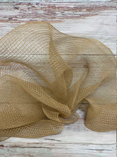 Load image into Gallery viewer, 10 inch tan fabric mesh. Natural mesh. Burlap mesh. Designer DIY offers metallic mesh, jute mesh, burlap mesh, fabric mesh, poly mesh. Perfect for a wreath, garland, swag, etc.