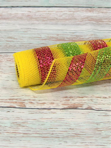 10 inch yellow mesh with pink and lime green metallic stripes. Spring Mesh. Summer Mesh.  Designer DIY offers metallic mesh, jute mesh, burlap mesh, fabric mesh, poly mesh. Perfect for a wreath, garland, swag, etc.