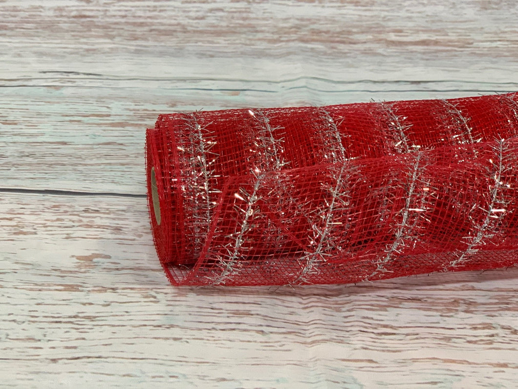 10 inch red metallic mesh with silver metallic tinsel stripe. Christmas mesh, patriotic 4th of July mesh.  Designer DIY offers metallic mesh, jute mesh, burlap mesh, fabric mesh, poly mesh. Perfect for a wreath, garland, swag, etc.