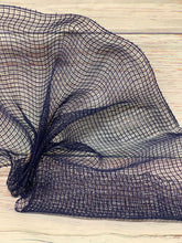 Load image into Gallery viewer, 10 inch Navy Blue Fabric Mesh. Dark Blue Mesh. Designer DIY offers metallic mesh, jute mesh, burlap mesh, fabric mesh, poly mesh. Perfect for a wreath, garland, swag, etc.