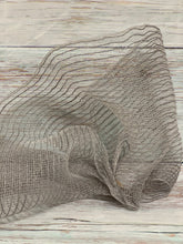 Load image into Gallery viewer, 10 inch gray jute mesh. Grey mesh. Designer DIY offers metallic mesh, jute mesh, burlap mesh, fabric mesh, poly mesh. Perfect for a wreath, garland, swag, etc.