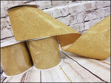 "Load image into Gallery viewer, 4"" Gold Glitter Ribbon - Designer DIY"