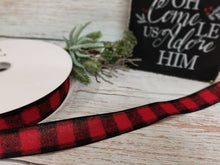 "Load image into Gallery viewer, 1.5"" Red and Black Buffalo Plaid Check Ribbon - 10 yards - Designer DIY"