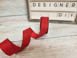"1.5"" Red Glitter Ribbon - Designer DIY"