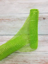 "Load image into Gallery viewer, 10"" Lime Green Metallic Mesh - Designer DIY"
