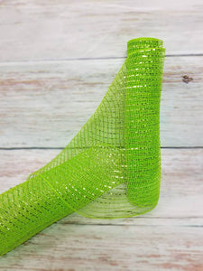 "10"" Lime Green Metallic Mesh - Designer DIY"