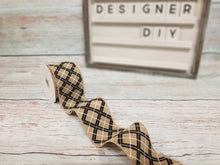 "Load image into Gallery viewer, 2.5"" Black Glitter Argyle on Tan Ribbon - Designer DIY"