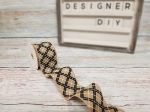 "2.5"" Black Glitter Argyle on Tan Ribbon - Designer DIY"
