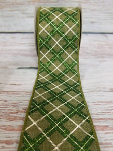 "2.5"" Green with Green Glitter Argyle Ribbon - Designer DIY"