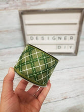 "Load image into Gallery viewer, 2.5"" Green with Green Glitter Argyle Ribbon - Designer DIY"
