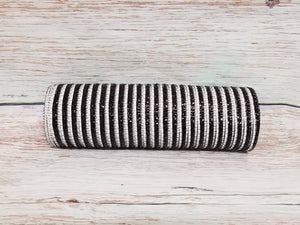 10 inch black and white stripe metallic mesh. Black and White striped deco mesh. Designer DIY offers metallic mesh, jute mesh, burlap mesh, fabric mesh, poly mesh. Perfect for a wreath, garland, swag, etc.