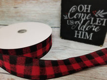 "Load image into Gallery viewer, 2.5"" Red Buffalo Plaid Check Ribbon - 10 yards"