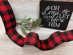 "2.5"" Red Buffalo Plaid Check Ribbon - 10 yards - Designer DIY"