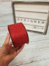 "Load image into Gallery viewer, 2.5"" Red Glitter Ribbon - Designer DIY"