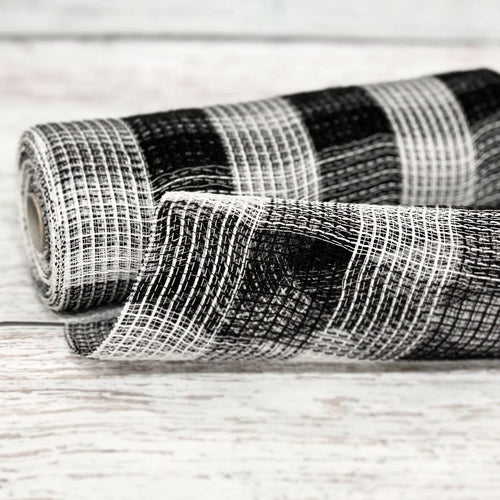 10 inch Black and White Buffalo Plaid Fabric Mesh. Black and White Buffalo Check mesh. Designer DIY offers metallic mesh, jute mesh, burlap mesh, fabric mesh, poly mesh. Perfect for a wreath, garland, swag, etc.