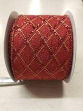 "Load image into Gallery viewer, 2.5"" Dark Red with Glitter Argyle Ribbon - Designer DIY"