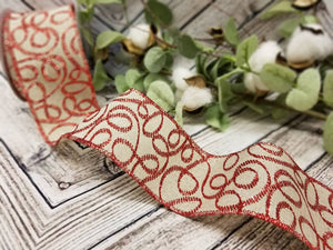 "2.5"" Natural with Red Glitter Swirls Ribbon - Designer DIY"