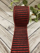 "Load image into Gallery viewer, 2.5"" Black with Red Glitter Stripes Ribbon - Designer DIY"
