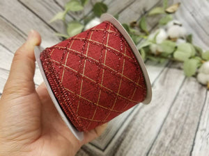 "2.5"" Dark Red with Glitter Argyle Ribbon - Designer DIY"