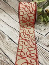 "Load image into Gallery viewer, 2.5"" Natural with Red Glitter Swirls Ribbon - Designer DIY"