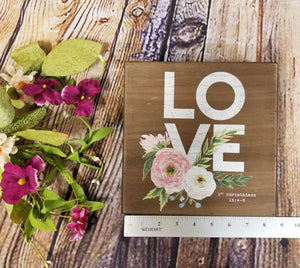 Floral Love 1 Corinthians Wood Sign