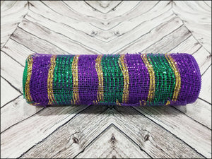 10 inch Mardi Gras Mesh. Purple, emerald green, and gold metallic mesh. Designer DIY offers metallic mesh, jute mesh, burlap mesh, fabric mesh, poly mesh. Perfect for a wreath, garland, swag, etc.