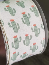 "Load image into Gallery viewer, 2.5"" Cactus Ribbon on Ivory Ribbon - Designer DIY"