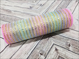 10 inch Pastel Ombre metallic mesh. Rainbow metallic mesh.  Designer DIY offers metallic mesh, jute mesh, burlap mesh, fabric mesh, poly mesh. Perfect for a wreath, garland, swag, etc.