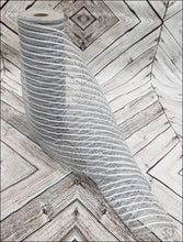"Load image into Gallery viewer, 10"" Gray Jute Burlap with White Metallic Stripe Mesh - Designer DIY"