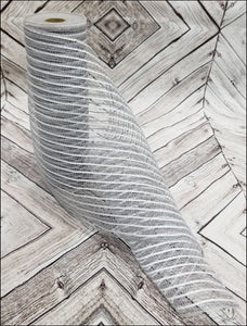 "10"" Gray Jute with White Metallic Stripe Mesh - Designer DIY"