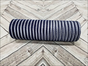 10 inch navy blue mesh with white metallic stripe. Designer DIY offers metallic mesh, jute mesh, burlap mesh, fabric mesh, poly mesh. Perfect for a wreath, garland, swag, etc.