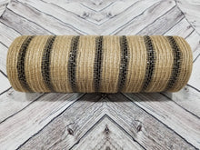 Load image into Gallery viewer, 10 inch Jute Burlap Mesh with Black Metallic Stripes.  Designer DIY offers metallic mesh, jute mesh, burlap mesh, fabric mesh, poly mesh. Perfect for a wreath, garland, swag, etc.