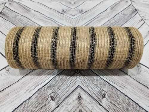 10 inch Jute Burlap Mesh with Black Metallic Stripes.  Designer DIY offers metallic mesh, jute mesh, burlap mesh, fabric mesh, poly mesh. Perfect for a wreath, garland, swag, etc.