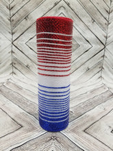 Load image into Gallery viewer, 10 inch red white and blue ombre mesh. Patriotic 4th of July mesh. Designer DIY offers metallic mesh, jute mesh, burlap mesh, fabric mesh, poly mesh. Perfect for a wreath, garland, swag, etc.