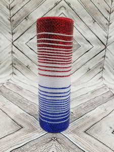 "10"" Red, White, Blue Ombre Metallic Mesh - Designer DIY"