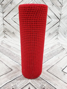 10 inch red fabric mesh. Designer DIY offers metallic mesh, jute mesh, burlap mesh, fabric mesh, poly mesh. Perfect for a wreath, garland, swag, etc.