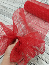 Load image into Gallery viewer, 10 inch red fabric mesh. Designer DIY offers metallic mesh, jute mesh, burlap mesh, fabric mesh, poly mesh. Perfect for a wreath, garland, swag, etc.