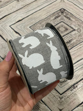 "Load image into Gallery viewer, 2.5"" Gray Linen with White Bunny Rabbit Ribbon - Designer DIY"