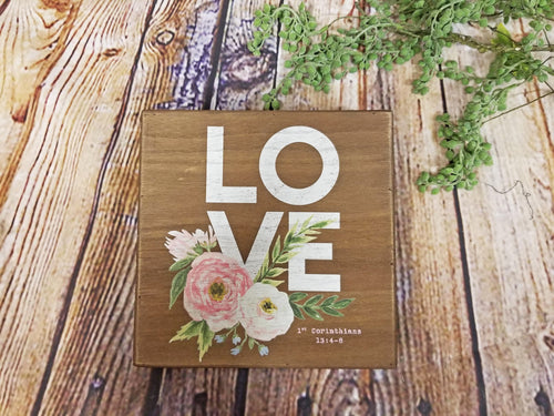 Floral Love 1 Corinthians Wood Sign - Designer DIY
