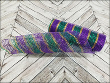 Load image into Gallery viewer, 10 inch Mardi Gras Mesh. Purple, emerald green, and gold metallic mesh. Designer DIY offers metallic mesh, jute mesh, burlap mesh, fabric mesh, poly mesh. Perfect for a wreath, garland, swag, etc.