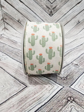 "Load image into Gallery viewer, 2.5"" Cactus Ribbon on Ivory Ribbon"