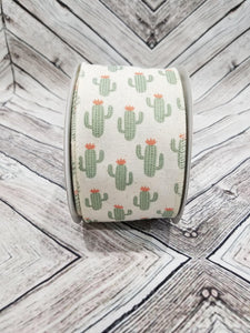 "2.5"" Cactus Ribbon on Ivory Ribbon - Designer DIY"