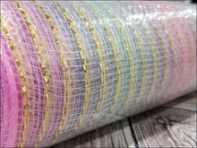 Load image into Gallery viewer, 10 inch Pastel Ombre metallic mesh. Rainbow metallic mesh. Designer DIY offers metallic mesh, jute mesh, burlap mesh, fabric mesh, poly mesh. Perfect for a wreath, garland, swag, etc.