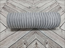 Load image into Gallery viewer, 10 inch gray and white stripe mesh. Gray and White Jute Burlap mesh.  Designer DIY offers metallic mesh, jute mesh, burlap mesh, fabric mesh, poly mesh. Perfect for a wreath, garland, swag, etc.