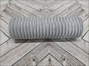"10"" Gray Jute Burlap with White Metallic Stripe Mesh - Designer DIY"