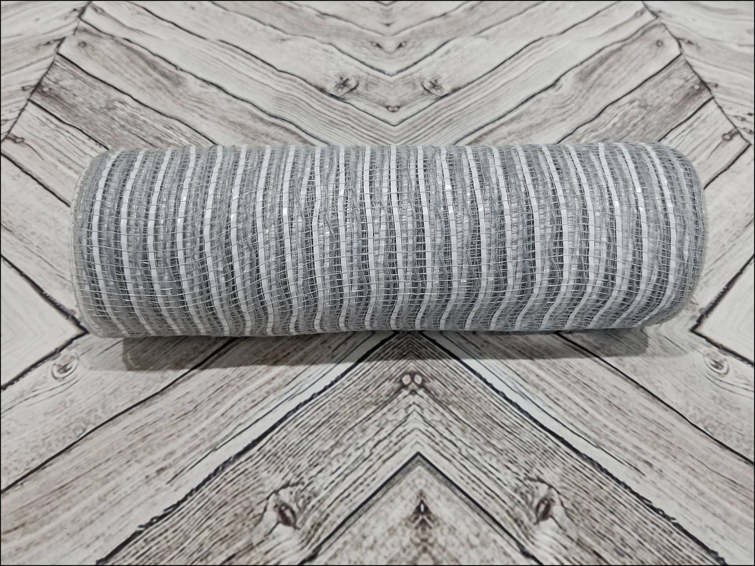 10 inch gray and white stripe mesh. Gray and White Jute Burlap mesh.  Designer DIY offers metallic mesh, jute mesh, burlap mesh, fabric mesh, poly mesh. Perfect for a wreath, garland, swag, etc.