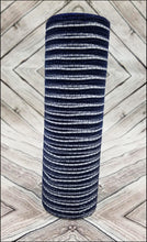 Load image into Gallery viewer, 10 inch navy blue mesh with white metallic stripe. Designer DIY offers metallic mesh, jute mesh, burlap mesh, fabric mesh, poly mesh. Perfect for a wreath, garland, swag, etc.
