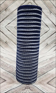 "10"" Navy Jute with White Metallic Stripe Mesh - Designer DIY"