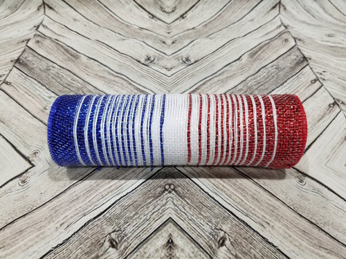 10 inch red white and blue ombre mesh. Patriotic 4th of July mesh.  Designer DIY offers metallic mesh, jute mesh, burlap mesh, fabric mesh, poly mesh. Perfect for a wreath, garland, swag, etc.